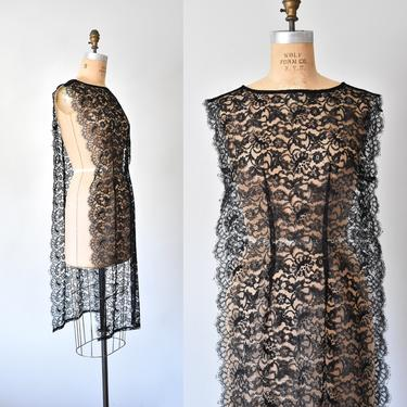 Janelle black lace overdress, sheer lace tabard, floral sheath dress, lace vest by ErstwhileStyle