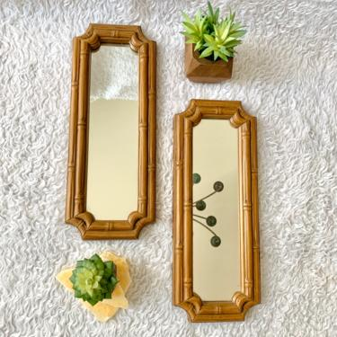 Vintage Mirror Wall Decor, Faux Bamboo, Syroco, Set 2, Mid Century Home by GabAboutVintage