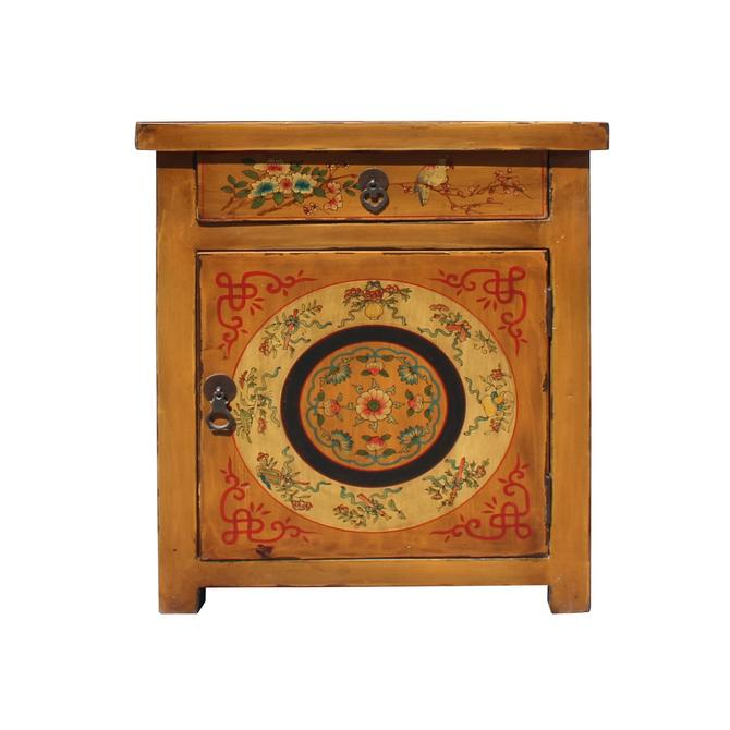 Chinese Oriental Distressed Mustard Yellow Graphic End Table Nightstand cs5767S