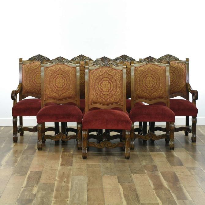 Set Of 8 Spanish Colonial Carved Dining Chairs