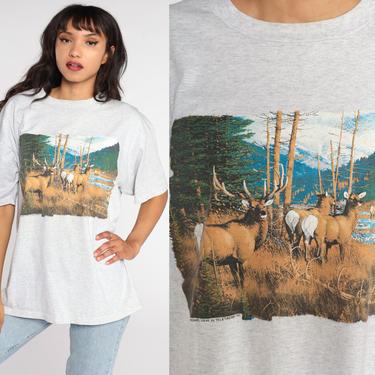 Deer Shirt 90s Animal TShirt Buck Deer Tee Vintage Graphic Tee Wilderness Screen Print 1990s Jerzees Extra Large xl by ShopExile