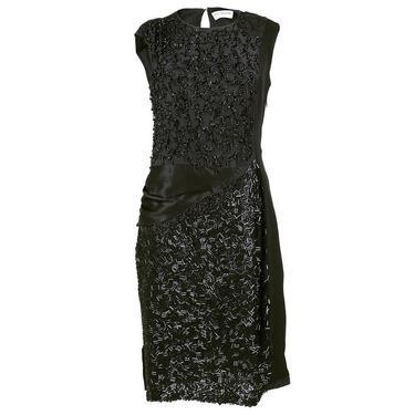 DRIES VAN NOTEN Black Beaded Cocktail Dress