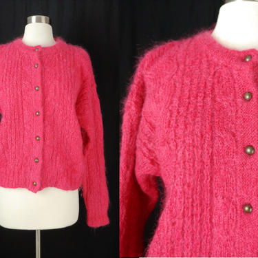Vintage Eighties Forenza Pink Mohair Blend Cardigan - 80s Cable Knit Fuzzy Medium Sweater by JanetandJaneVintage