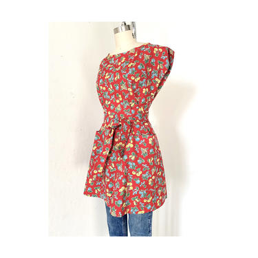 Vintage Apron Dress, Fruit Print Dress, Wrap Dress 1940's, veggie Print, Red Dress, Short Sleeve, Kimono, Tunic Dress by DudaVintage