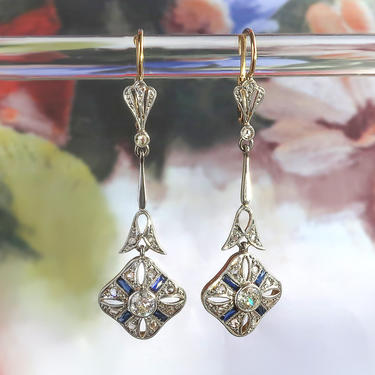 Art Deco Diamond and Synthetic Sapphire Drop Earrings Platinum Over 18K Yellow Gold by YourJewelryFinder