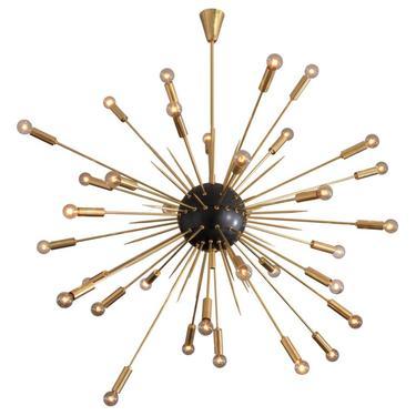 Large Black and Brass Midcentury Style Sputnik Pendant, Italy, 2019