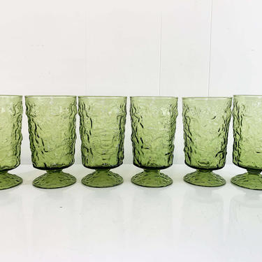 Vintage Avocado Geen Anchor Hocking Lido Milano Crinkle Glass Iced Tea Glasses Set of Six Pedestal Tumblers Textured Highball 1960s 1970s by CheckEngineVintage
