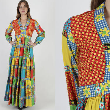 Vintage 70s Victor Costa Maxi Dress / Patchwork Floral Long Full Skirt / Rainbow Color Country Theme / Tiered Floor Length Designer Dress by americanarchive