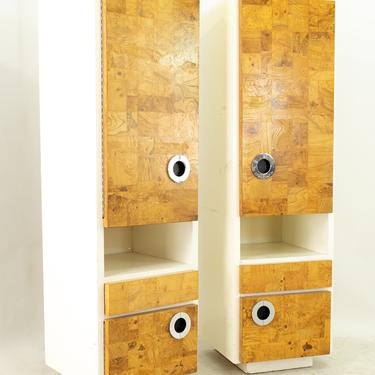 Milo Baughman for Lane Mid Century Laminate Burlwood and Chrome Wall Units - Pair - mcm by ModernHill