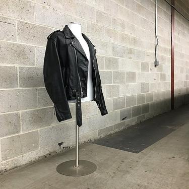 Vintage FMC Leather Motorcycle Jacket 1990s Retro Mens Size 44 Black Leather Moto Zip with Silver Zipper Pockets and Quilted Lining by RetrospectVintage215