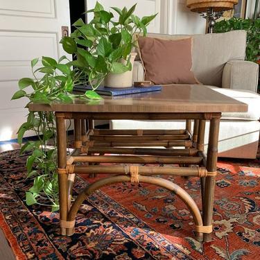Square, rattan base coffee table - laminate top