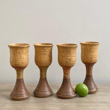 Pottery Wine Goblets Studio Ceramic Signed Tall Stoneware Goblet Set of 4 by ModRendition
