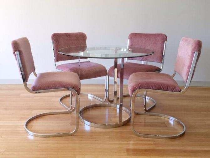 vintage mid century modern chrome and glass dining table.