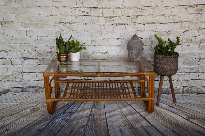 SHIPPING NOT FREE!!!! Vintage Bent Bamboo Table Franco Albini Style with Glass top by WorldofWicker