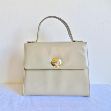 Vintage 1960's Bienen Davis Taupe Beige Leather Structured Purse Handbag Mod Style Bag Top Handle Gold Hardware High End 60's Accessories by seekcollect