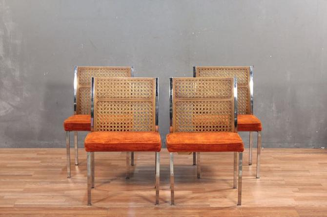 Howell Orange and Chrome Faux Cane-Back Side Chair – ONLINE ONLY