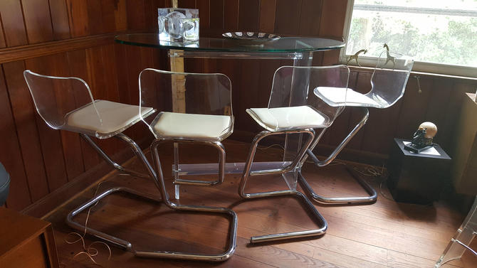Lucite Bar and 2 Barstools by Hill Manufacturing by MarquisModern