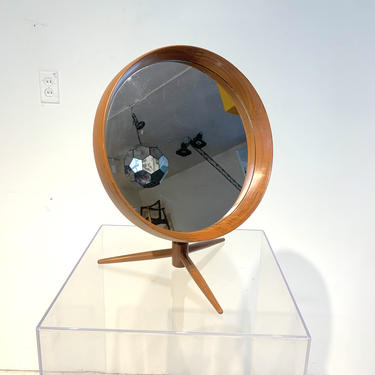 RARE Danish Teak Flip-Top Swivel Vanity Mirror by Pedersen & Hansen by XcapeVintage