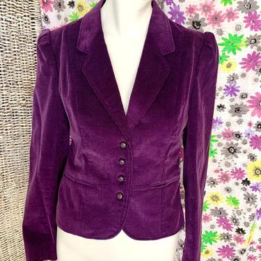 Vintage Corduroy Blazer, Cropped Jacket, Purple, Tapered Fit, Fits Size M by GabAboutVintage