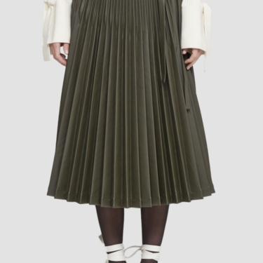 Leather Alternative Sunburst Pleated Skirt - Dark Olive