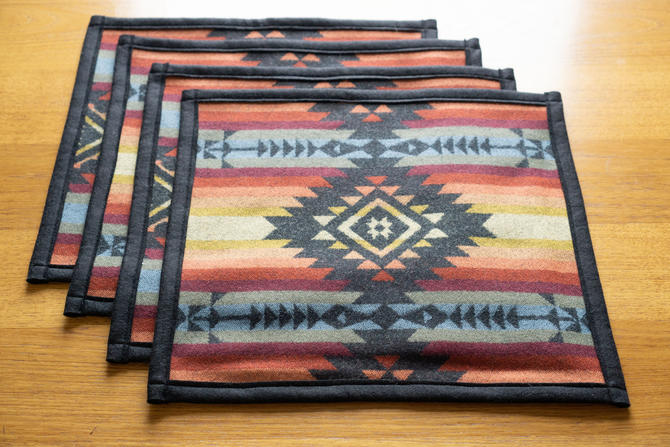WOOL PLACEMATS Double sided - handcrafted with PENDLETON's Pueblo Dwelling Wool Fabric by CovetModernDesign