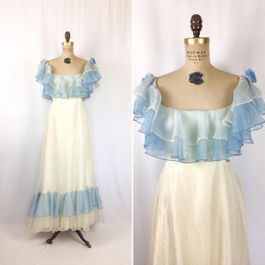 Vintage 70s dress | Vintage white and blue chiffon ruffled dress | 1970s prom brides maid dress by BeeandMason