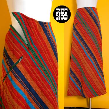 High-End Vintage 70s Orange Green Blue Stripe Woven Quilted Maxi Skirt by Neiman Marcus with Unique Zippers by RETMOD