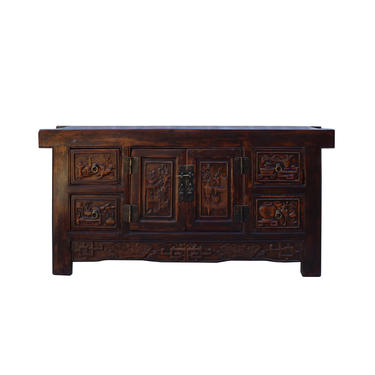 Chinese Distressed Brown Floral Motif Low TV Console Table Cabinet cs5921E by GoldenLotusAntiques