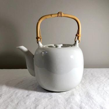 Vintage Taylor Ng White Porcelain Teapot, Bamboo Handle - Tea Pot, Original Tag, made in Japan, Asian Chinoiserie, Mid Century, Scandinavian by VenerablePastiche