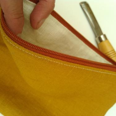 Linen Fabric Pencil Pouch, Mustard Yellow Pencil Bag, Bohemian, Pencil Pouch, Vegan Bag, Project Bag, Zipper pouch,Handmade, Mothers day by MOONTEAstudio