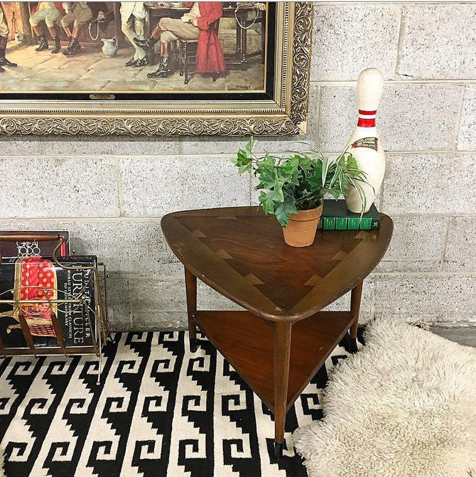 LOCAL PICKUP ONLY Vintage Lane Triangle End Table Retro 1960s Guitar Pick Shape Dark Brown Wood Triangular Corner or Coffee Table with Shelf by RetrospectVintage215
