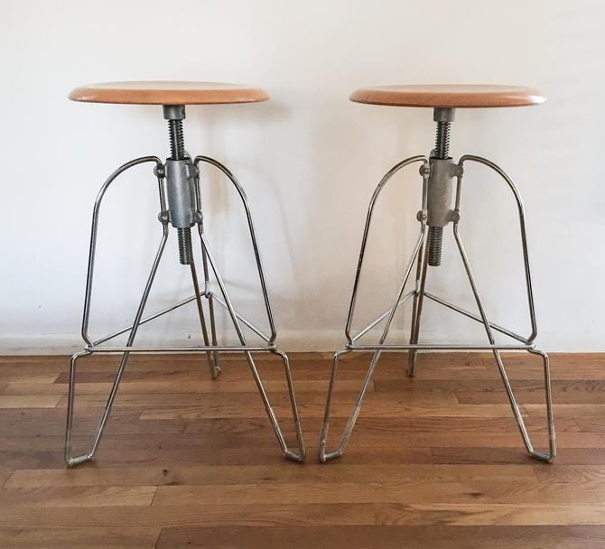 Vintage Jeff Covey for Herman Miller model 6 stools chrome and maple seat height adjustable mid century modern wire wood