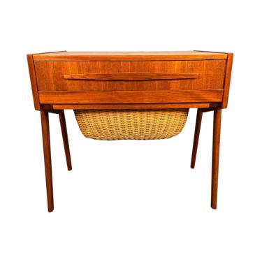 Vintage Danish Mid Century Modern Teak Sewing Table by AymerickModern