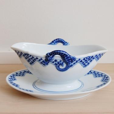 Rare Kronberg Bing and Grondahl Porcelain Sauce/Gravy Boat with Attached Plate Made in Denmark, 311 by MidCentury55