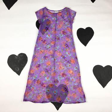 90's cyber y2k sheer neon purple daisy dress / 1990's see through orange blue chiffon T-shirt dress / slip on / raver / beach / vaporwave XS by verybestvintage