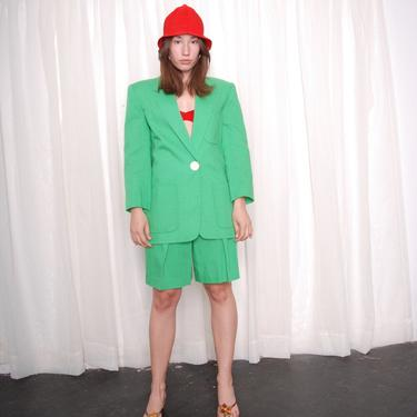 Vintage 1980s Kelly Green Oleg Cassini Chic Shorts Suit (Small) by 40KorLess