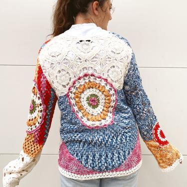 Colorful 90's Crochet Cardigan