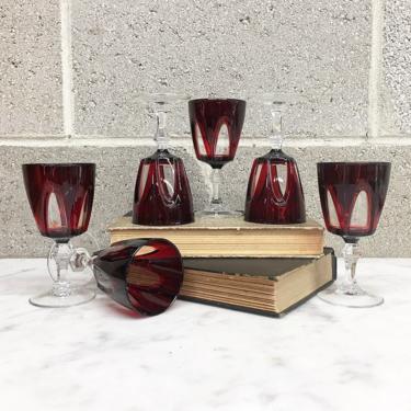 Vintage Wine Glasses Retro 1970s Luminarc Arcoroc France + Cristal d'Arques + Ruby Red + Gothic + Set of 6 + Goblets + Barware + Home Decor by RetrospectVintage215
