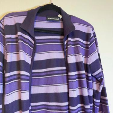 2) vintage sag harbor zipper collared striped purple long sleeve shirt 90s does 70s by GRACEandCATS