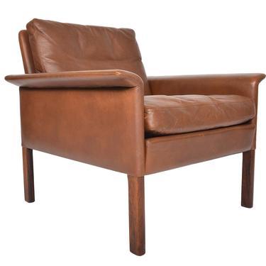 Danish Mid Century Modern Hans Olsen Leather + Rosewood Lowback Lounge Chair by MidCenturyMobler