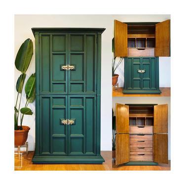 NEW! Beautiful Dark Emerald Green Wardrobe Armoire Dresser Cabinet Closet Vintage Solid Wood - San Francisco CA by ShabbyRootsBoutique
