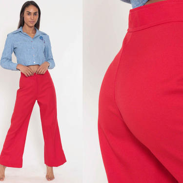 Bell Bottoms Pants 26 -- 70s Boho Hippie Bellbottom Red Polyester Gaberdine Trousers High Waist 1970s Vintage Bohemian Trousers Small by ShopExile