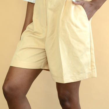 Vintage Beige Pleated High Rise Relaxed Shorts by MAWSUPPLY