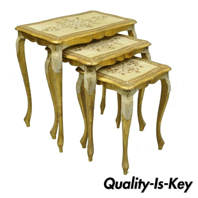 Set of Three Vintage Italian Florentine Gold Gilt Nesting Stacking Side Tables