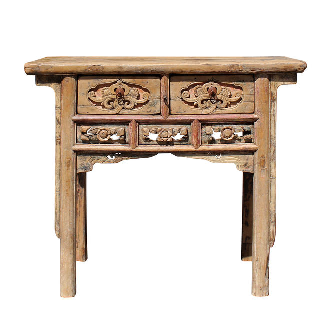 Chinese Vintage Drawer Raw Wood Rustic Side Table cs5770E by GoldenLotusAntiques