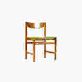 Danish Modern / Mid Century Teak Dining / Side Chair — Single — Green Textile —  Dalescraft by atomicthreshold