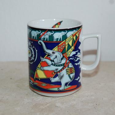 Bopla! Mug ~ Colorful Windsurfing / Surfing Elephants Switzerland 12 oz rim Bopla Langenthal Porcelain Mug ~ Colorful Kitesurfing Elephants by YesterdayAndTomorrow