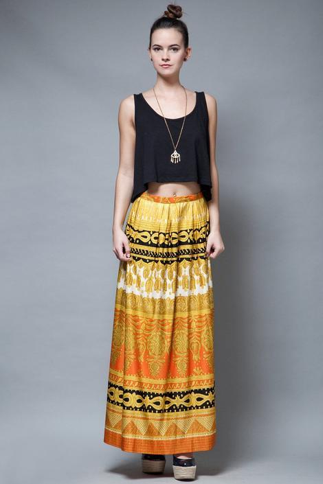 maxi skirt yellow orange boho pleated medallion print vintage 70s M MEDIUM by shoprabbithole