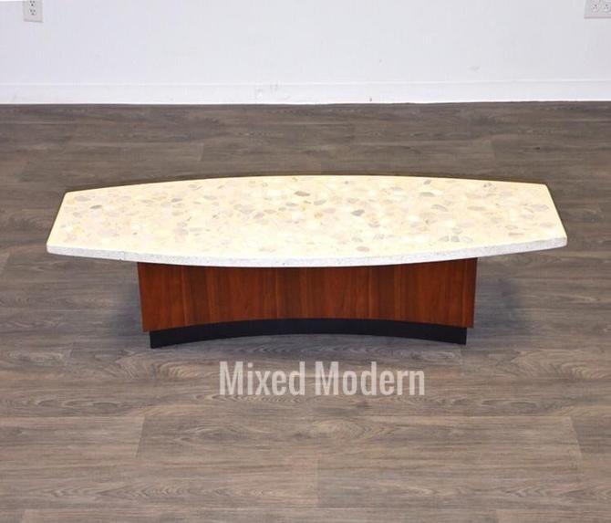 Terrazzo & Walnut Coffee Table by Harvey Probber by mixedmodern1