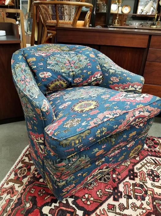 Vintage barrel chair with boho style fabric